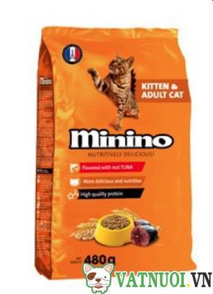 thức ăn minino cho mèo con và mèo trưởng thành
